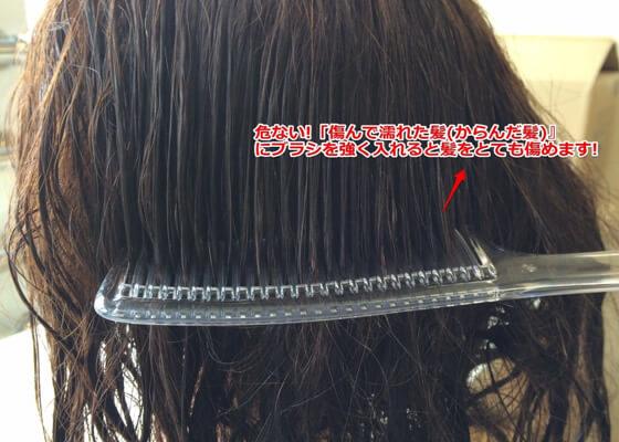 危険!!「傷んで濡れた髪(からんだ髪)」にブラシを強く入れると髪をとても傷めます!!